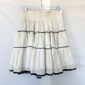 Zara TRF Ruffled Tiered Hem White Skirt